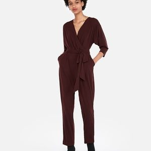 NEW NWT Express Stretch Surplice Jumpsuit Cabernet